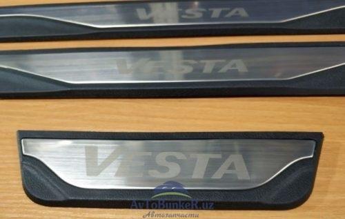 Комбинированные накладки на пороги LADA VESTA (пластик+нерж.)